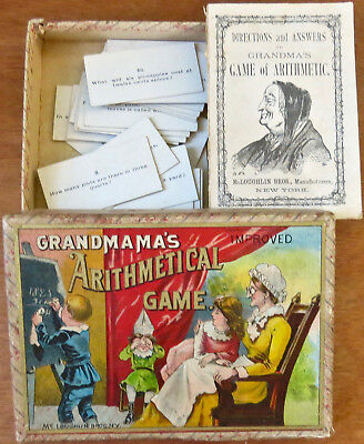 Antique 1887 GRANDMAMA'S IMPROVED ARITHMETICAL GAME by McLOUGHLIN BROS Card Game