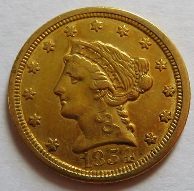 1854-O Gold $2.50 Liberty Head Quarter Eagle cleaned, Vintage coin (151841I)