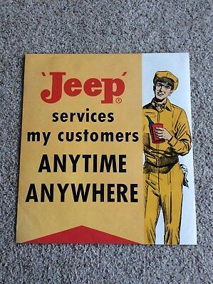 1960s Jeep original dealership hanging two sided paper sign