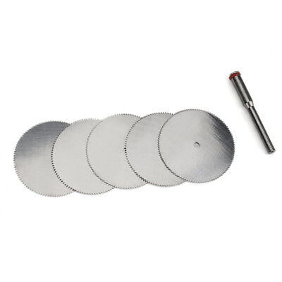 5Pcs 32mm Stainless Steel Slice Metal Cutting Disc with 1 Mandrel for Dremel Rot