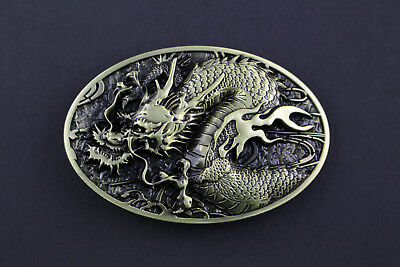 Oval Gold Chinese Dragon Belt Buckle Metal Calendar Traditional High Detail