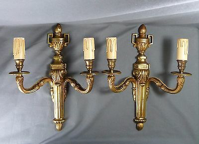Fabulous Pair Of French Antique Massive Bronze Empire Candle Wall Sconces Lights