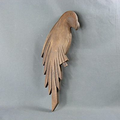 French Antique Vintage Wooden Parrot probably the Decor of an Old Lamp