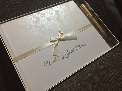 Luxury Floral Pattern Pearl Wedding Guest Book with Cream Ribbon And Gold Pen