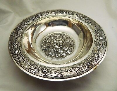 Maciel Mexico 900 Silver Bowl with Rose Flower 8 ½ Inches 376 grams