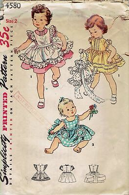 Vintage 1953 Simplicity 4580 Girls Puff Slv Dress & Lacy Pinafore Pattern_2,21