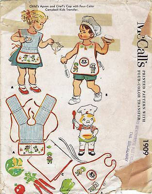 Vintage 1954 McCalls 1909 CAMPBELL SOUP KIDS Aprons, Transfers &Chef Hat Pattern