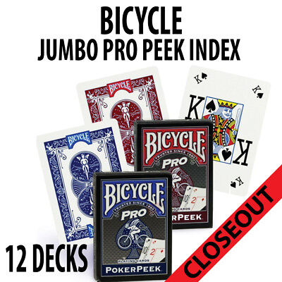 Bicycle Playing Cards 12 Decks Poker Peek Pro 6 Red and 6 Blue