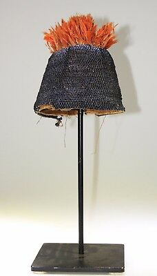 Incredible Original African Beaded Hat With Feathers