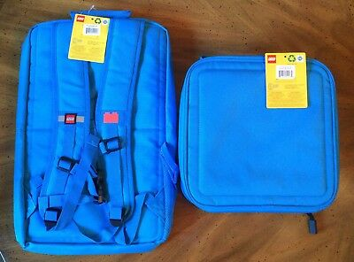 Lego Brick Backpack & Lunch Eco Box - Blue - New With Tags