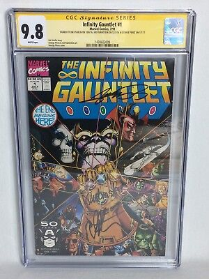 CGC SS 9.8  The Infinity Gauntlet #1 Signed Starlin,Rubinstein & Perez Marvel
