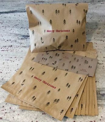 East of India 10 Christmas Paper Bags Gift Sweet Goodie Party Bag & Stickers