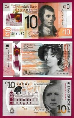 ALL 3x SCOTTISH SCOTLAND POLYMER - £10 - UNC - COLLECT THEM ALL