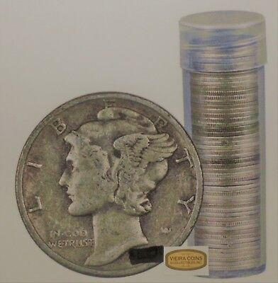 Roll ( 50 Coins ) Mercury  Silver 10 Cents, G to XF  -#B423-50-3