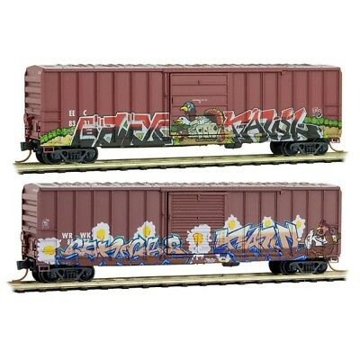 Micro-Trains MTL N Birds Of A Feather 2 Pack WEATHERED GRAFFITI 02544008 Oct '17