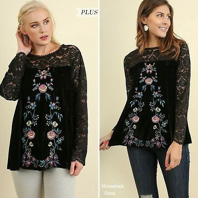 7881c9be53b UMGEE LACE VELVET embroidered floral top- PLUS   Regular size ...