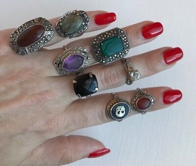 Lot of 8 Art Deco Vintage Sterling Silver Rings - Carnelion, Onyx, Glass