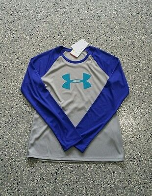 New Under Armour Heat Gear Youth Girls Long Sleeve Loose Fit  T-Shirt Top Large