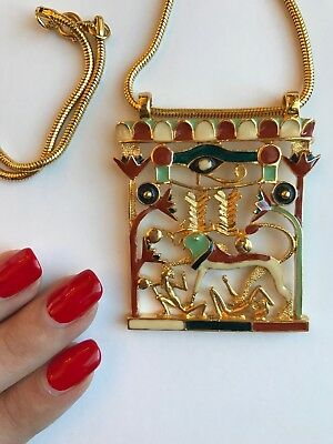 Vintage 1970's Alice Caviness Gold Tone Necklace - Tribal, Modernist, Egyptian