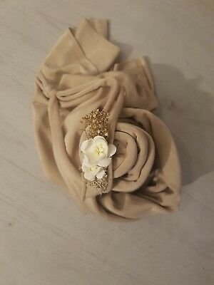 Baby Headband Newborn Photography Prop Stretch Halo Floral Prop Beige White Set