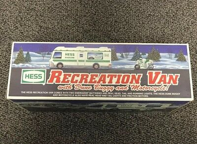 1998 Hess Toy Truck Recreation Van w/ Dune Buggy & Motorcycle New in Box