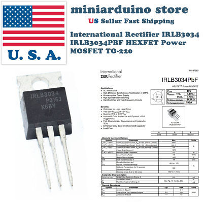 5pcs IRLB3034PBF IRLB3034 HEXFET Power MOSFET TO-220 Rectifier Box Mod
