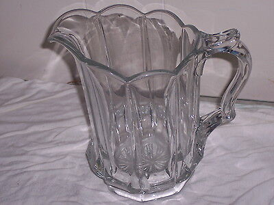 """Vintage Clear Glass 7"""" Paneled Water / Drink Pitcher Heavy Used NICE! MAKE OFFER"""
