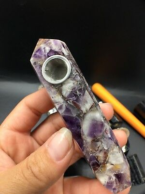 1pcs natural Banded Chevron Dream amethyst quartz crystal smoking pipe as gift