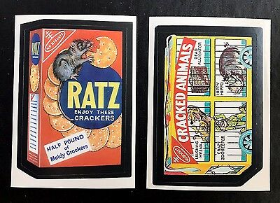 Topps Wacky Packages LOST WACKYS Repro RATZ & CRACKED ANIMALS White Back RARE
