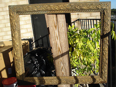 Antique unusual Arts & Crafts Aesthetic period large painting/picture frame,bin