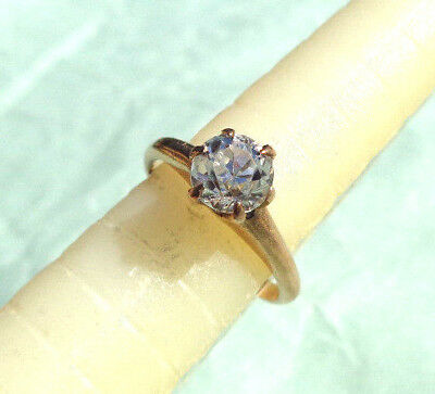 BEAUTIFUL ANTIQUE 10k GOLD WHITE SAPPHIRE ENGAGEMENT SOLITAIRE RING NOT SCRAP NR
