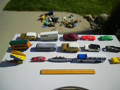 Large Mixed Lot Vintage Toys Pressed Steel Toosietoy Japan Tin Train Bus Parts