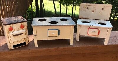 Vintage Child's Tin Stoves 3 Toys In Original Found Condition Unmarked