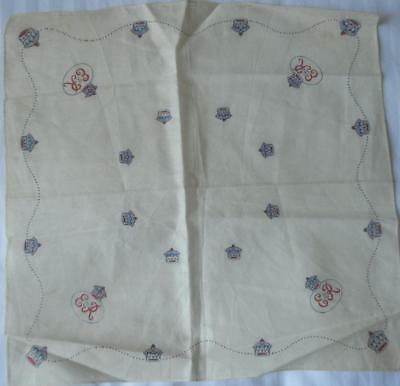 Souvenir Cotton Handkerchief 1953 Coronation Queen Elizabeth Ii Crowns Eiir
