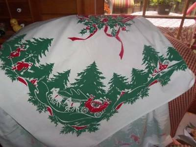 Vintage Christmas Tablecloth 50s stagecoach holly people houses trees horses bow