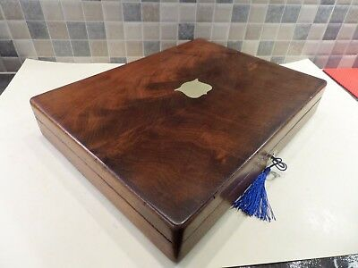 Antique Solid Walnut Box With Tray Ideal For A Collection Or Storage- Lock & Key