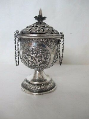 "Magnificent C.1860 Sterling Silver ""repousse"" Incense Burner"