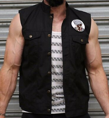 Motorcycle Vest Biker Canvas High Quality perfect for Harley Davidson RRP $100