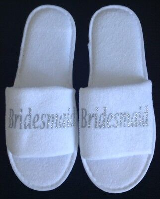 October OFFER! Bridesmaid Silver Sparkle Spa Slippers. Wedding, Hen Do, Gift?