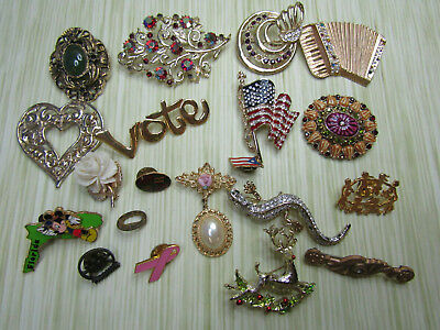 Costume Jewelry Brooch Pin Lot AS IS Gold Tone Flag Lizard Sparkle Flower