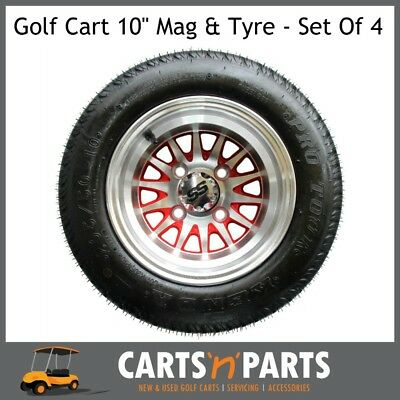 "Golf Cart Buggy Mags & Tyres -10"" Medusa Machined Silver & Red SS centres"
