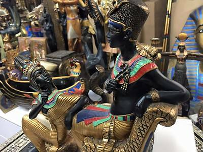 Vintage Unique Large King Tut and His Wife Statue  hand-painted