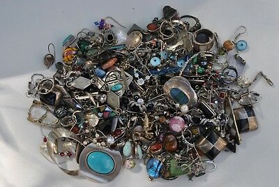 Lot Of 1 Lb 3 1/2 Oz Sterling Silver & Stones Scrap Jewelry