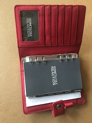 Kenneth Cole Reaction Red Compact Open Binder Planner Leather-like