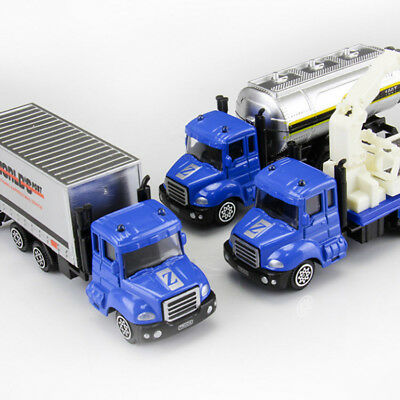 Set of 3 Police Rescue Trailer Container Truck Tank Truck Diecast Toy Vehicle