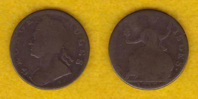 Great Britain Copper Evasion Half Penny 1730 George Rules  ---  Gbfd