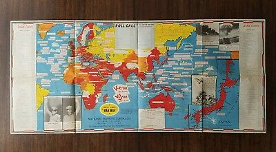 WWII Dated Events War Map 28th Edition CR 1942 C.C. Petersen V-E Day V-J Day