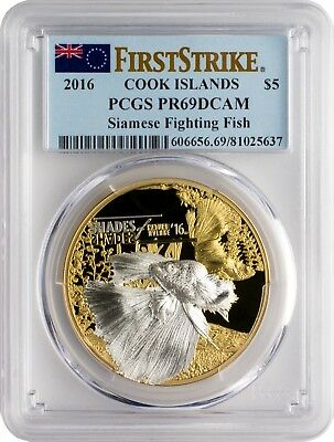2016 $5 Cook Islands Siamese Fighting Fish Silver Coin PCGS PR69DCAM FS