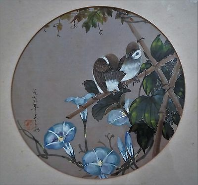 Old Original Japanese Signed Floral Painting On Silk, Framed