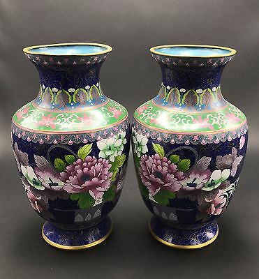 Chinese Old Pair Of Large Magnificent Cloisonne Enamel Vases